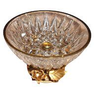 Vintage Italian Gold plated Tole Rose Crystal Dish