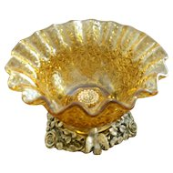 Vintage Matson Ormolu GP Bird Motif Golden Pressed Glass Dish