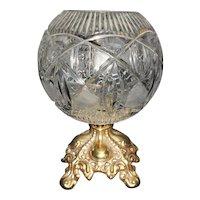 Gorgeous Vintage Faceted Crystal Rose Bowl on Ormolu Base