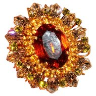 Gorgeous Vintage French Fabulous High Couture Designer Topaz, Peridot, Amber Glass Brooch