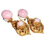 Vintage French Unsigned Woloch of Paris Pink Poured Glass Dangle Earrings