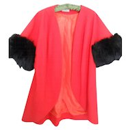 1950s Red Swing Coat with Faux Fur 3/4 Sleevs
