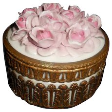 Vintage German Elfinware Porcelain Roses Bronze Trinket Box