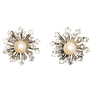 "Vintage Sputnik  Sterling Paste and Cultured Pearl ""Snow Flake"" Design Earings"
