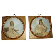 Pair of Georgian Reverse Painted Prints - Portraits of Ladies