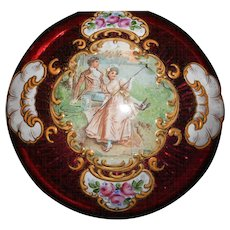 Antique Moser Unusual Shape Casket Hand Painted Pastoral Scence on Hidged Ruby Glass Lid