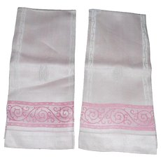 Lovely Unused Art Deco Monogrammed Pink Dasmask Linen Towels - 2 - Red Tag Sale Item