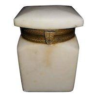 Antique Alabaster Hinged Box - Unusual Lid
