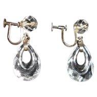 Vintage Japanese Rock Crystal and Sterling Elongated Hoop Earrings