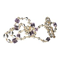 Art Deco Crystal Orbs and Purple Cube Long Necklace