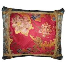Antique Brocade with Metallic Trim Velvet Pillow