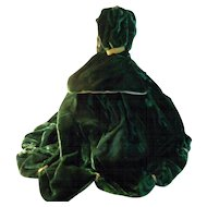 Vintage Two Piece Green Velvet FF Doll Dress - GWTW