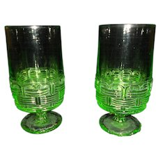 Vintage Vaseline Glasses - Set of Two