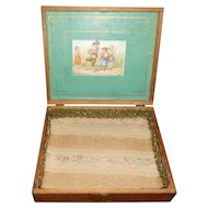 Antique Childrens Lithograph Wooden Box