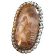 """Antique Sentimental Mourning Sepia """"Gratitude"""" Ring, c 1780s"""
