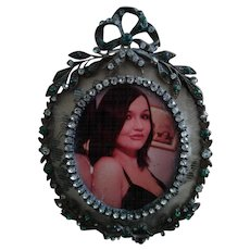 Antique French Paste and Metal Bow Picture Frame