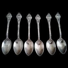 Antique Wendell Ornate Sterling Silver Spoons - set of 6