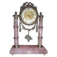 Antique Jeweled French Clock Rubies and Marcasite
