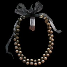 Lanvin Tulle Covered Simulated Pearl Necklace Two Strands Gorgeous