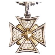 Lagos Diamond Maltese Cross Pendant 18K and Sterling