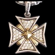 Lagos Diamond Maltese Cross Pendant 18K and Sterling