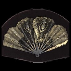 Antique Framed French Art Nouveau Butterfly Fan Eventail Signed Tutin C. 1900-1910