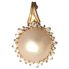 Beautiful Vintage 14K Yellow Gold Mobe Pearl and Diamond Pendant
