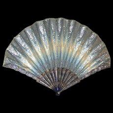 Museum Quality Exceedingly Rare Duvelleroy Antique French Fan Eventail 'au point de Hongrie' c. 1910 Excellent Condition
