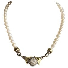 Vintage Arcadian Mist Pave' Diamond Enhancer with Pearl Necklace C-Clamps c.1997
