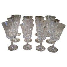 Elegant Vintage Lenox Gala Stemware Finely Cut Crystal Wine and Water Goblets c.1971 Set of Twelve Pieces