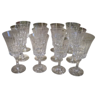 Elegant Vintage Lenox Gala Stemware Finely Cut Crystal Wine and Water Goblets c.1971 Set of Twelve Pieces