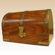 Wooden Domed Box with Brass Trim