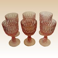 Set of Beautiful Fenton Colonial Pink Thumbprint Water Goblets