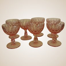 Beautiful Fenton Colonial Pink Thumbprint Champagnes or Sherbets
