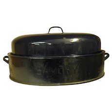 Early Dark Blue Savory Enamel Double-Wall Roaster