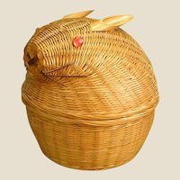 Charming Figural Thin Woven Cane Bunny Basket