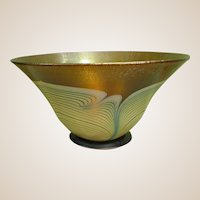 Signed Correia Art Glass Iridescent Controlled Feather Bowl dated 1981