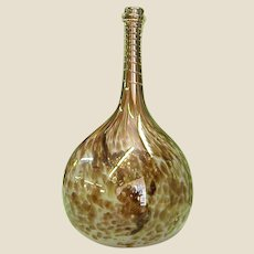 Signed Peter Layton Handblown Studio Art Glass Pencil Neck Vase