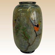 Early John Nygren Art Glass Vase with Birds