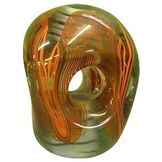 Signed Karlin Rushbrooke Studio Art Glass Paperweight Dated 1977