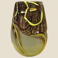 Signed Karlin Rushbrooke Studio Art Glass Vase Dated 1977