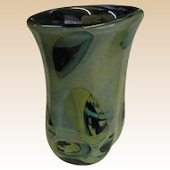Signed Paul Seide Art Glass Asymmetrical Vase Dated 1975
