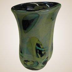 Signed Paul Seide Art Glass Asymmetrical Vase Dated 1975