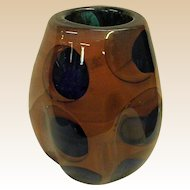 Signed Paul Seide Studio Glass Asymmetrical Vase Dated 1975