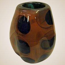 Signed Paul Seide Studio Glass Asymmetrical Vase Dated 1975