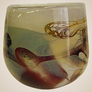 Signed Pauline Solven Art Glass Vase Dated 1976 from Ravenshill Studio