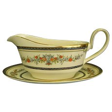 Minton Stanwood China Gravy Boat with Underplate