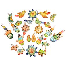 Colorful Miniature Handmade Mexican Terra Cotta Clay Ornaments or Fetishes