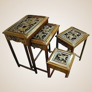 Heavily Carved Wood Asian Nesting Tables