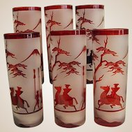 Set of Beautiful Cameo Style Ruby Frosted Tumblers/Highballs